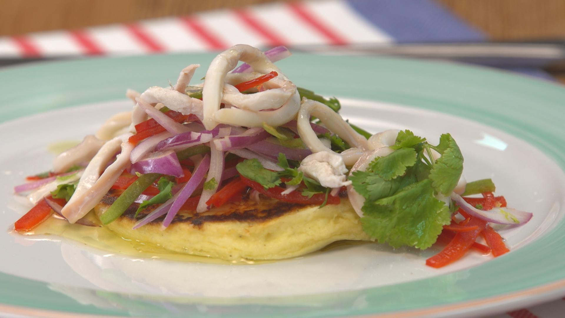 Calamares marinados y pancake de papa cucinare for Cucinare jalapenos