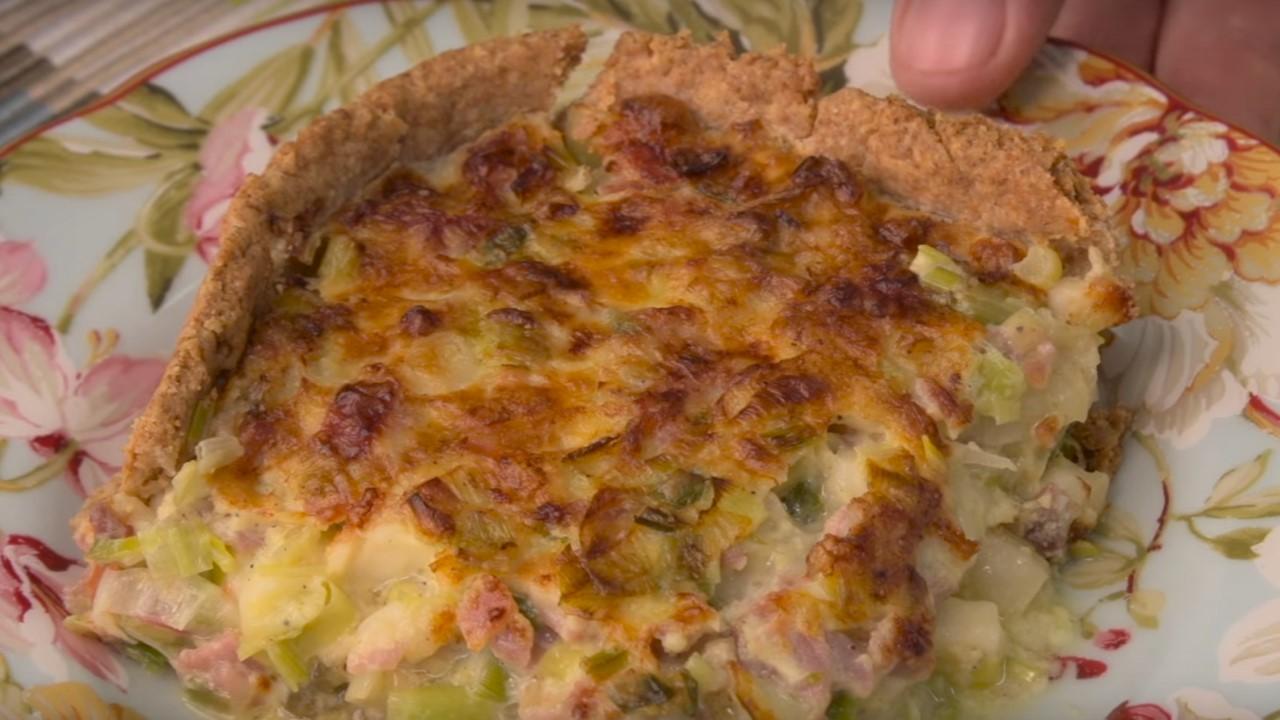 receta tarta de puerro y cebolla de verdeo