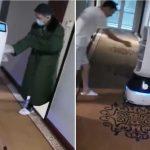Para evitar el contagio por el coronavirus, un robot reparte la comida en China