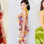Usa imágenes de famosos en miniatura para crear vestidos y trajes a partir de alimentos de su cocina