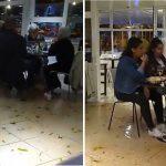 La marea invadió un restaurant de Puerto Madryn pero los comensales siguieron comiendo